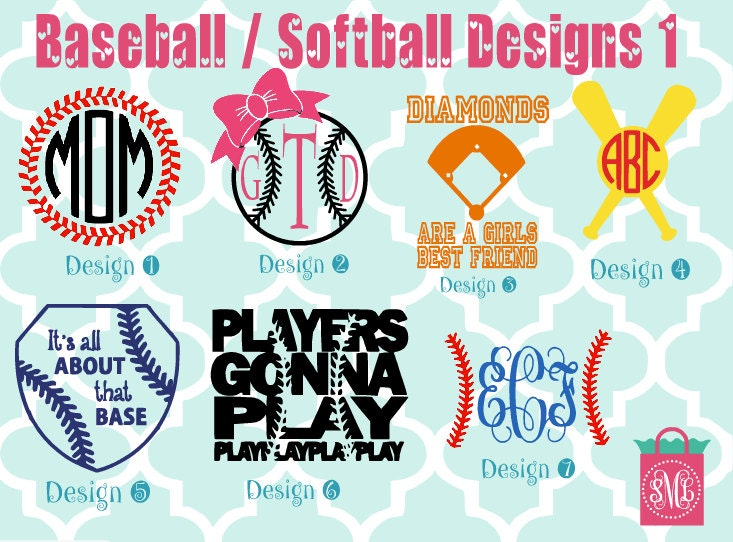 Baseball Softball Vinyl Decals Monogram Decals - Custom vinyl baseball decals