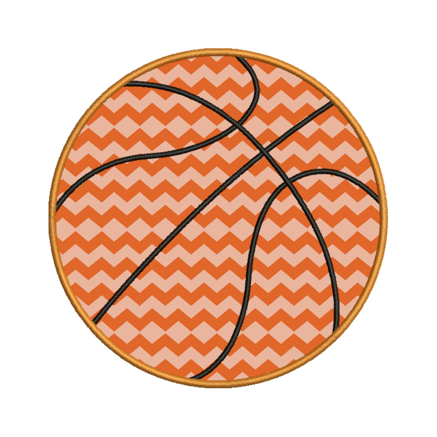 Basketball applique embroidery design instant by