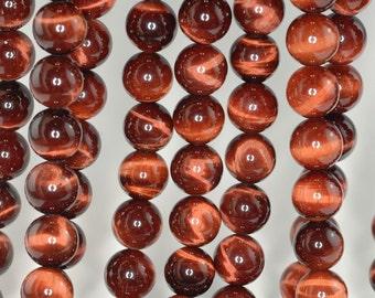 12mm Mahogany Red Tiger Eye Gemstone Grade AAA Round Loose Beads 8 inch Half Strand BULK LOT 1,2,6,12 and 50 (90186255-81)