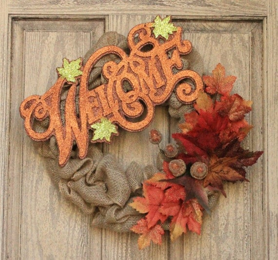 Welcome Guests With Fall Door Decorations: Welcome Fall Autumn Burlap Front Door Wreath Glitter Sign