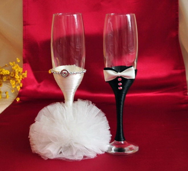 Wedding glasses bride groom champagne glasses for bride and
