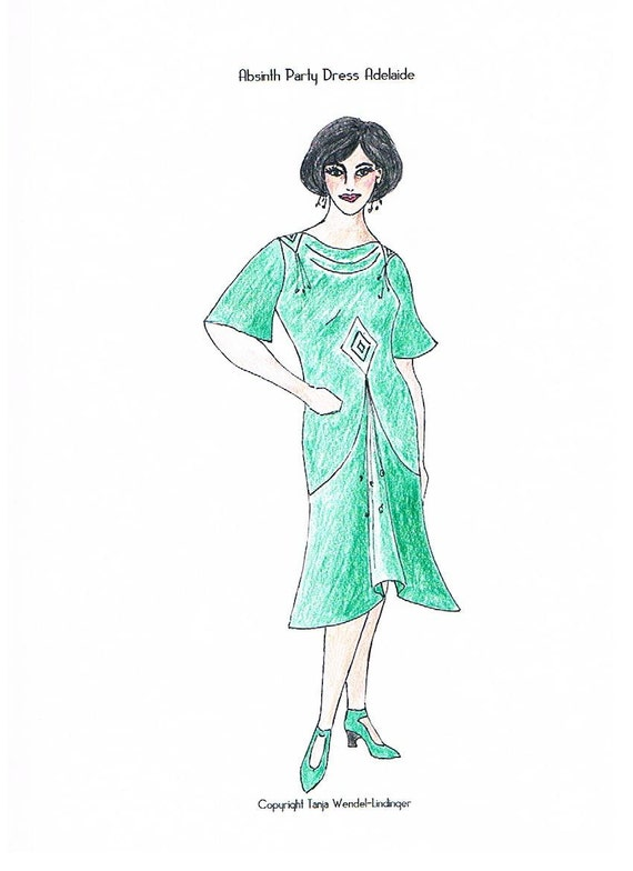 1920s Patterns – Vintage, Reproduction Sewing Patterns Absinth Party Dress Adelaide - PDF Pattern Size US6/UK10/DE36 and US8/UK12/DE38 $17.33 AT vintagedancer.com