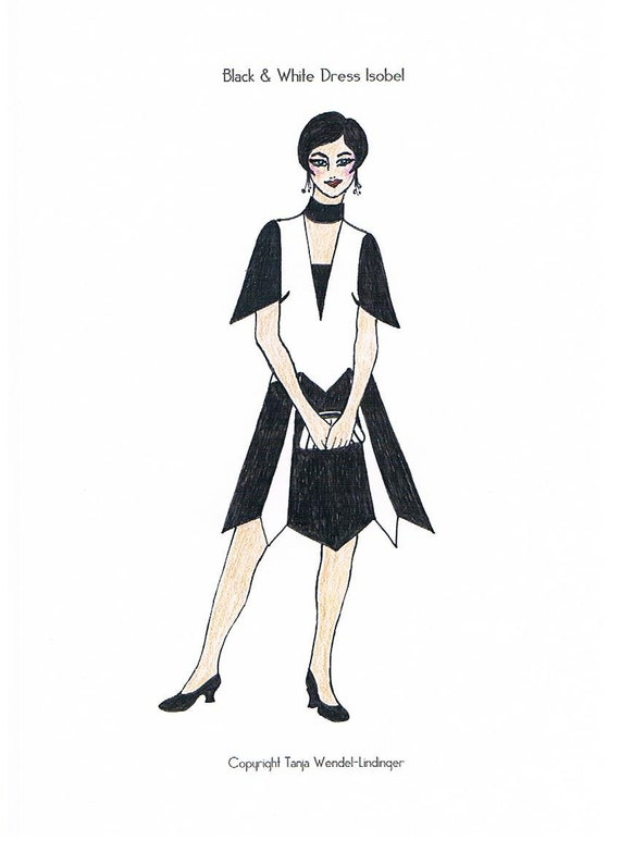 1920s Patterns – Vintage, Reproduction Sewing Patterns Black & White Dress Isobel - PDF Pattern Size US10/UK14/DE40 $9.06 AT vintagedancer.com