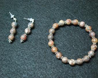 Leopard Skin Jasper Gemstone Bracelet and earrings