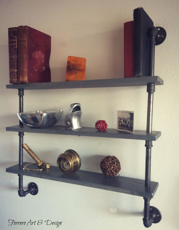 snap steampunk shelves shelving shelf pipe shelf by ferreroartdesign