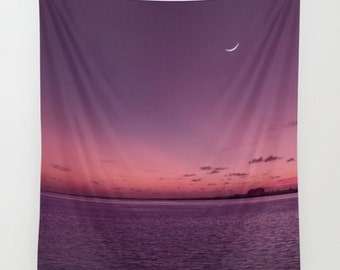 Ocean tapestry, purple tapestry, large wall art, tapestry wall hanging, sunset, wall hanging, purple home décor, twilight, outdoors tapestry