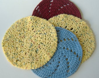 Crochet Dishcloths, Crocheted Round Dishcloths, Maroon Yellow Blue, Kitchen Cleaning, Bath Crochet