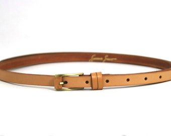 Neutral Skinny Belt Hand Made with Genuine Leather, Vegetable Tanned