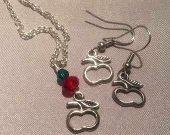 Festive Rosh Hashanah Jewelry Set - Abstract Apple Necklace and Earrings - Fruit Necklace and Earrings - Silver Plated Apple Jewelry