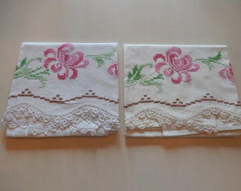 CROCHETED and CROSS STITCH Pillowcases