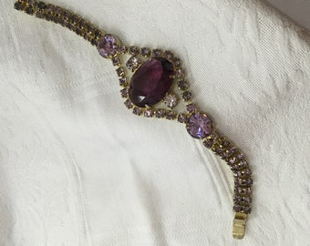 Fuchsia rhinestone Deco crystal bracelet