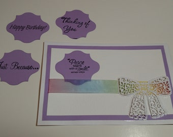 Rainbow Ribbon Changing Senitment Greeting Card