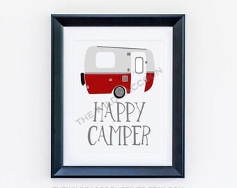 Happy Camper Printable, Nursery Print Navy, Summer Fun Nursery Art, Vintage Camper, Red and Gray, Camping Digital Art, Instant Art Print