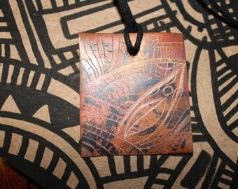 Copper Etched in Necklace