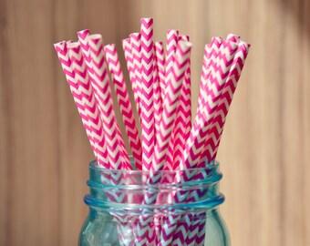 Bright Pink Cheveron Paper Straws