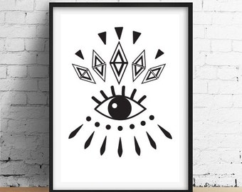 Fashion Eye Print, Eye Poster, Wall Decor, Abstract Wall Art, Boho Poster.