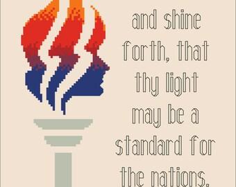 """LDS Young Women -- Arise and Shine, 8x10"""" -- Digital PDF Cross Stitch Pattern"""