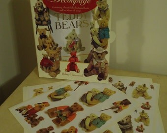 Victorian Decoupage  Book with 10 pages of Scraps, Teddy Bears