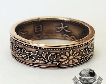 Japanese Coin Ring - Bronze 1 Sen Coin