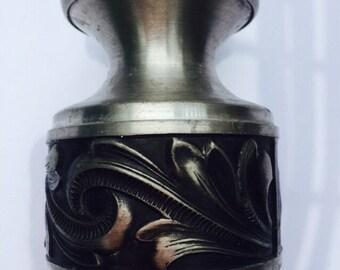 Vintage Mid Century Pewter Candle Holder/ Vintage Ornate Candle Holder