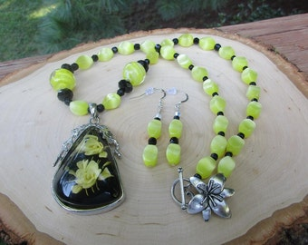 Yellow Rose Necklace Set