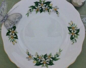 Vintage Cake Plate, Bridal Rose Pattern.