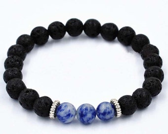 Blue-Venus Natural Lava Stone Beaded Bracelet