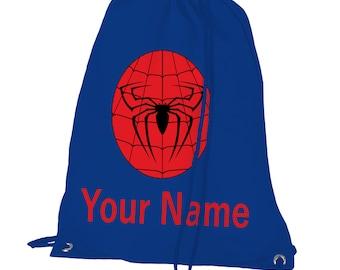 Spiderman Gym Bag with custom name.