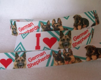 German Shepherd Grosgrain Ribbon 7/8""