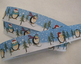 Skiing Penguin Grosgrain Ribbon 1""