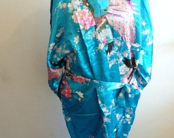 blue Chinese dressing gown robe style Japanese kimono peacock wedding pajama