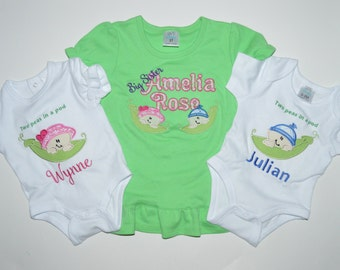 TWINS SET Two peas in a pod for twins or multiples & option for older sibling!