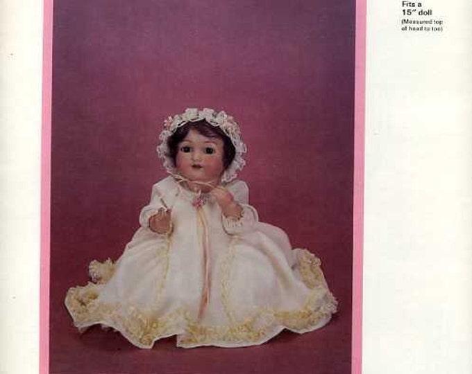 "FREE usa SHIP Byron Doll Pattern 1980's 191 Dress Bonnet Fits 15"" doll Old Store Stock Sewing Pattern"
