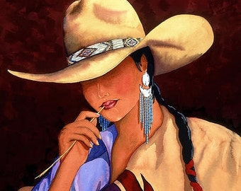 Cowgirl Navajo Notion Gicl'ee on canvas 3 dimencial framing 39 x 32 x 3 1/2