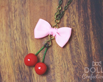 Cherry Pair bag charm