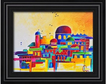 Jerusalem **Original Acrylic Jewish Jerusalem Painting wall art hanging home decor