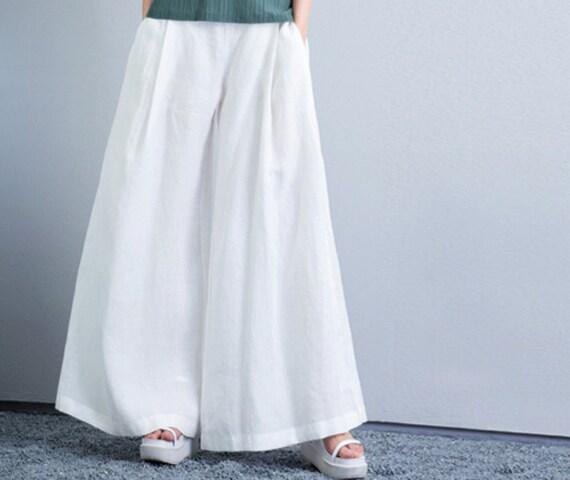 linen dress pants wide leg pants with 2 side pockets white