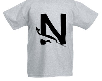 Kids N is for Narwhal T-Shirt / Childrens Animal A-Z Alphabet T Shirt in Black, Grey, Pink, Yellow, Blue / Age: 3-4, 5-6, 7-8, 9-11, 12-13