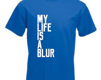 Mens My Life Is a Blur T-Shirt / Mens Bike Cycling T Shirt
