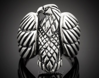Silver Eagle Ring - Solid Sterling Silver American Eagle Men's Ring