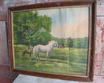 Vintage Horse Foal Print With Antique Oak Frame Barn Farmhouse Decor Country Western Wall Stable Art