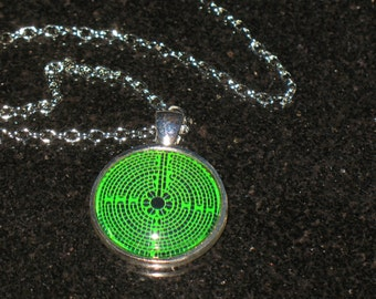 Green Chartres Labyrinth 25mm Glass Cabochon Pendant Necklace 24 inch