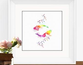 Rainbow Koi Fish, Fine Art Watercolor