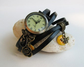 Black thin leather wrap woman watch bee style - Leather watch decorated