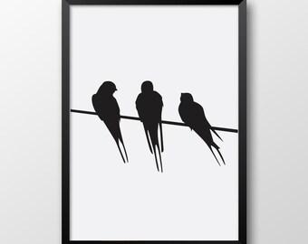 Birds print, Scandinavian art, Black and white decor, Printable poster 213