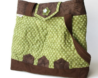 Small quilted green and chocolate brown bag