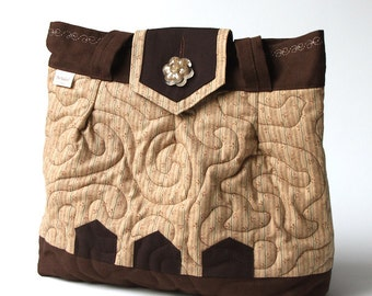 Small quilted beige and chocolate brown tote bag