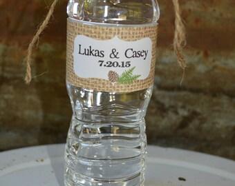 Water Bottle Labels, Printable Wedding Favors, Personalized Water Bottle Labels, Woodland Wedding, Water Bottle Label for Wedding