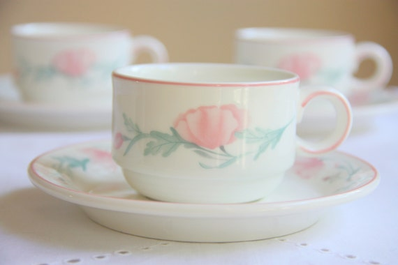 Set of Three Vintage Villeroy and Boch Luxembourg Porcelain Cup and Saucers, Pink Poppies Decor, Numbered