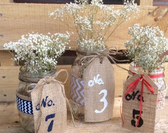 Table Numbers. Burlap Table Numbers. Wedding Centerpiece. Rustic Table Number Tags. Shabby Chic Wedding.